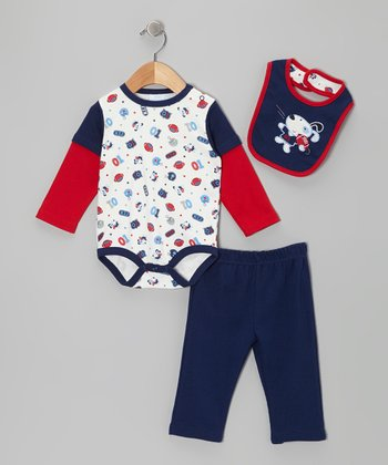 Navy & Red Dog Layered Bodysuit Set
