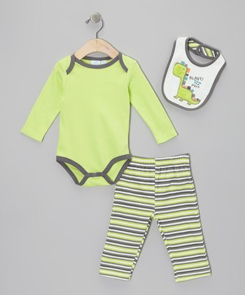 Lime & Gray Dino Bodysuit Set