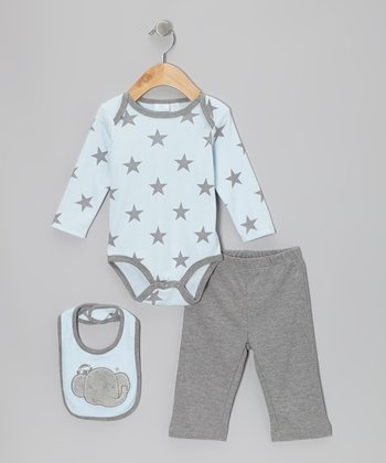 Blue & Gray Elephant Bodysuit Set