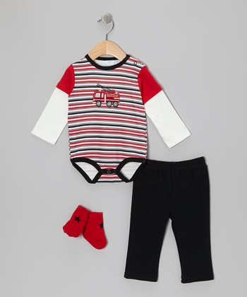 Red & Black Fire Truck Layered Bodysuit Set