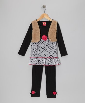 Black Polka Dot Layered Tunic & Leggings - Toddler & Girls