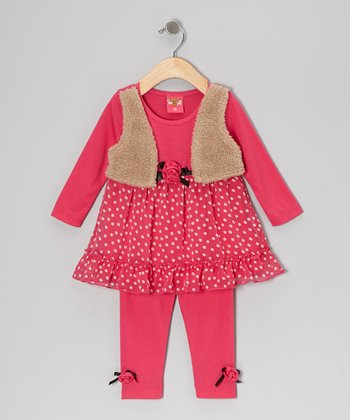 Fuchsia Polka Dot Layered Tunic & Leggings - Toddler & Girls