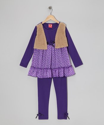 Purple Polka Dot Layered Tunic & Leggings - Toddler & Girls