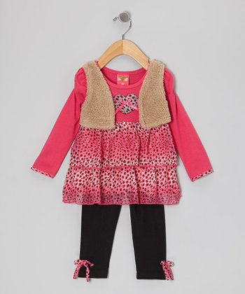 Fuchsia Cheetah Layered Tunic & Black Leggings - Toddler & Girls