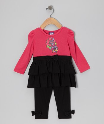 Fuchsia Tier Tunic & Leggings - Girls