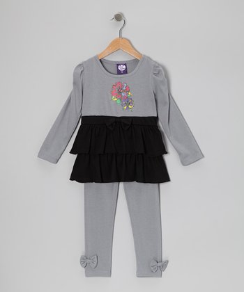 Gray Tier Tunic & Leggings - Girls