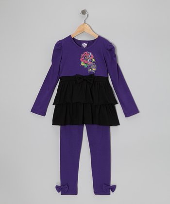 Purple Tier Tunic & Leggings - Girls