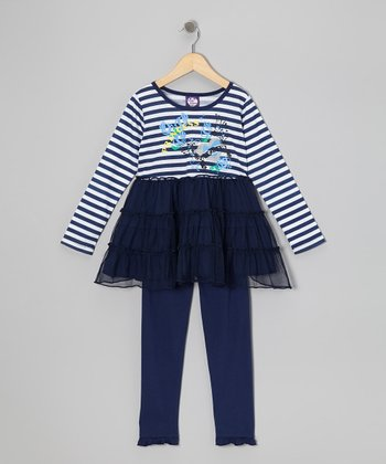 Blue Stripe Tier Top & Leggings - Girls