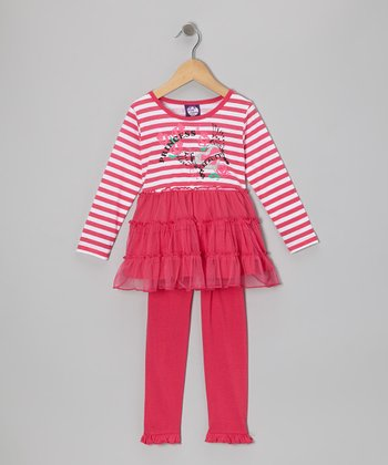 Fuchsia Stripe Skirted Tunic & Leggings - Girls