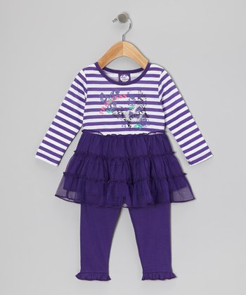 Purple Stripe Tier Top & Leggings - Girls