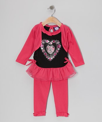 Fuchsia Heart Layered Tunic & Leggings - Girls