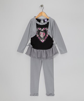 Gray Heart Layered Tunic & Leggings - Girls