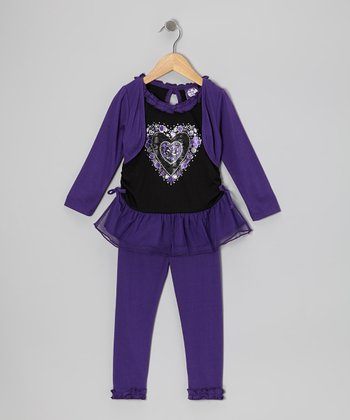 Purple Heart Layered Tunic & Leggings - Girls