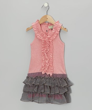 Pink & Navy Ruffle Candy Dress - Toddler & Girls