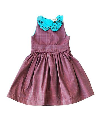 Maroon & Turquoise Plaid Pauline Dress - Infant, Toddler & Girls