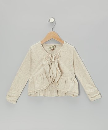 Ecru Mélange Cropped Frill Cardigan - Toddler & Girls