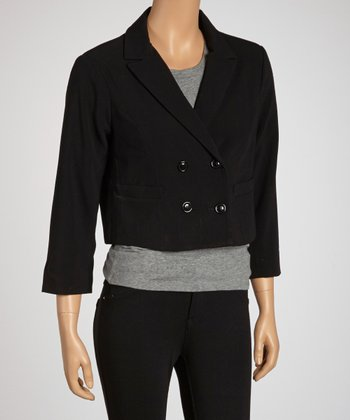 Black Cropped Wool-Blend Jacket