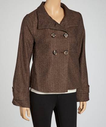 Brown Wool-Blend Cropped Jacket