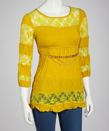 Mustard Lace Stripe Top - Women