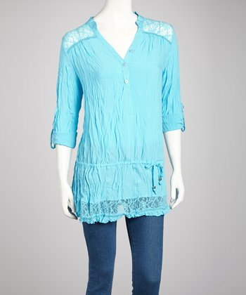 Turquoise Three-Button Ruffle Top - Women