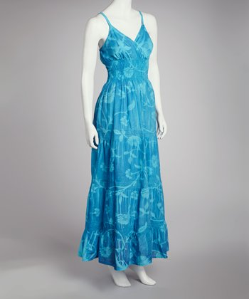 Turquoise Tie-Dye Maxi Dress - Women
