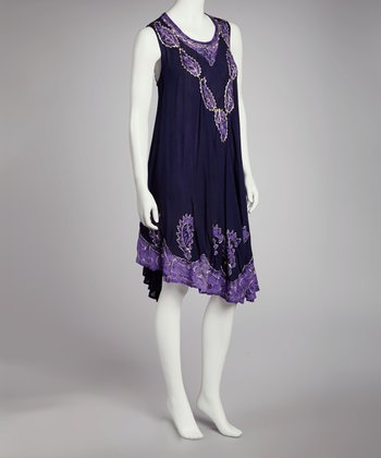 Purple & Purple Embroidered Batik Shift Dress - Women