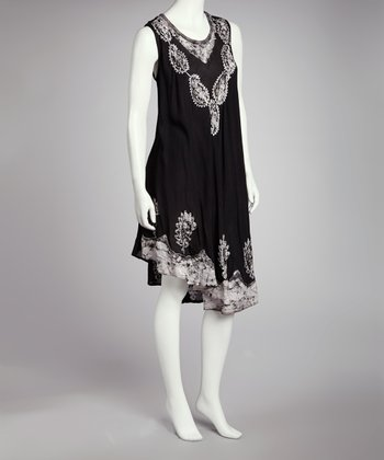 Black & Gray Embroidered Batik Shift Dress - Women