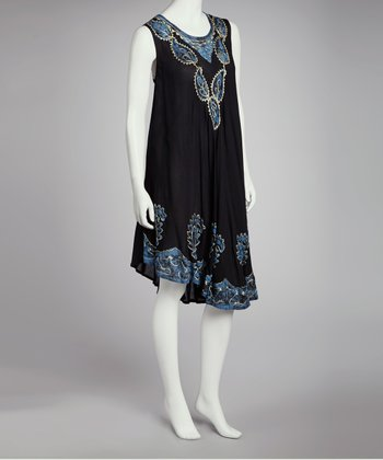Black & Blue Embroidered Batik Shift Dress - Women