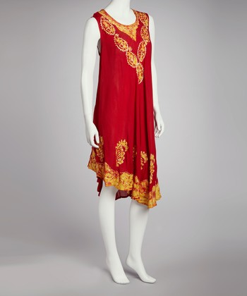 Red & Yellow Embroidered Batik Shift Dress - Women