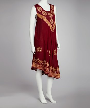 Burgundy & Yellow Embroidered Batik Shift Dress - Women