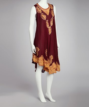 Red Floral Embroidered Batik Shift Dress - Women