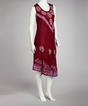 Red & Purple Embroidered Batik Shift Dress - Women