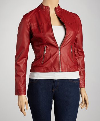 Red Zipper-Pocket Jacket - Women & Plus