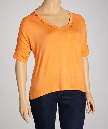 Orange Lace-Back Hi-Low Top - Plus