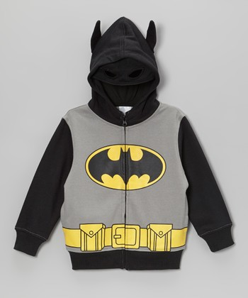 Black & Gray Batman Zip-Up Hoodie - Kids