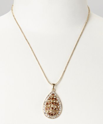 Gold & Topaz Teardrop Pendant Necklace