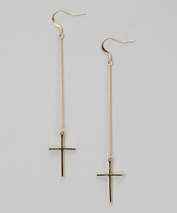 Gold Cross Dangle Cross Earrings