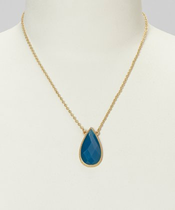 Gold & Capri Teardrop Necklace