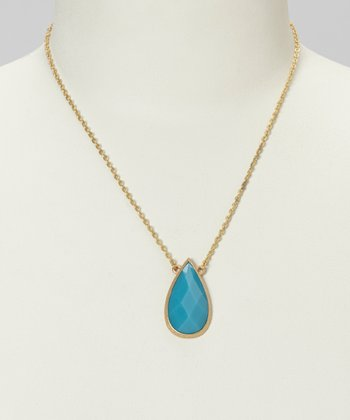 Gold & Turquoise Teardrop Necklace
