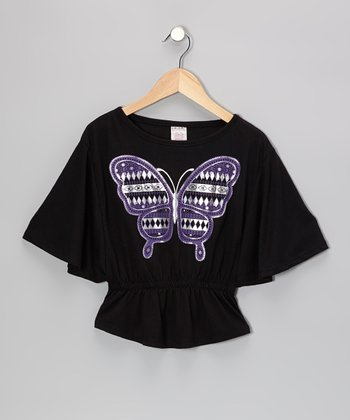 Black Butterfly Cape-Sleeve Top - Girls
