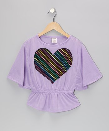 Purple Heart Cape-Sleeve Top - Girls