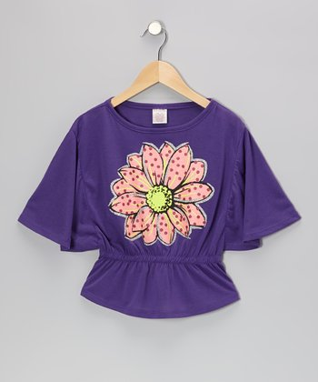Purple Bloom Cape-Sleeve Top - Girls