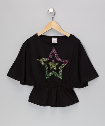 Black Star Cape-Sleeve Top - Girls