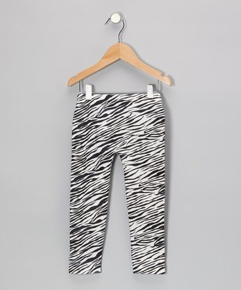 Black Zebra Leggings - Girls