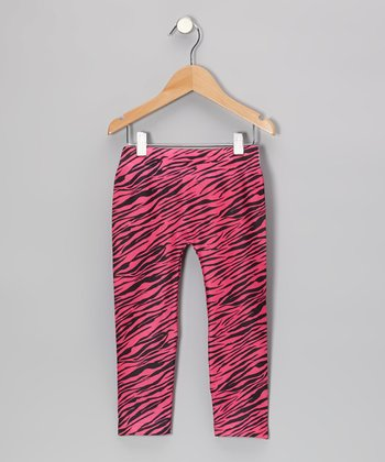 Fuchsia Zebra Leggings - Girls