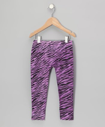 Purple Zebra Leggings - Girls