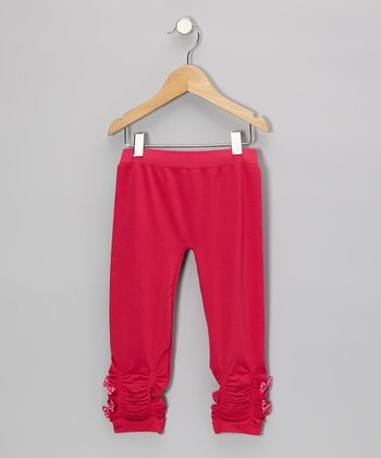 Fuchsia Ruched Leggings