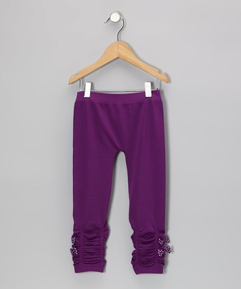 Purple Ruched Leggings
