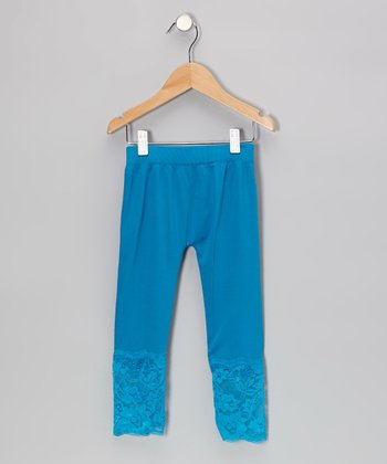 Turquoise Lace-Bottom Leggings - Girls