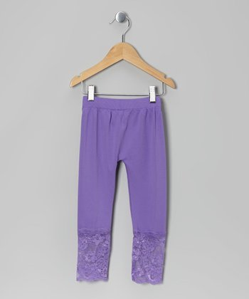 Purple Lace-Bottom Leggings - Girls